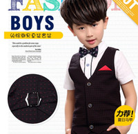 Wholesale Wholesale Boy Western Shirts - 2017 Summer Korean Children Boys Sets Dot Vest Shirt +Short Pants 3pcs Western Style Clothing Sets J6028