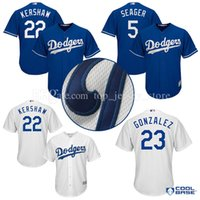 Wholesale Cheap Kershaw - cheap Los Angeles Dodgers Baseball jerseys 22 Clayton Kershaw 23 Adrian Gonzalez 5# Corey Seager Majestic Royal Alternate Cool Base Jersey