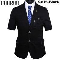 Wholesale Tuxedos For Short Men - Wholesale- (Jacket+Pants) Men Short Sleeve Suits 2016 Costume Homme Terno Prom Wedding Tuxedo Suits For Men CBJ-T0024