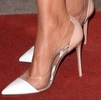 Wholesale transparent pointed heeled shoes women - Red Carpet Evening Pumps Transparent PVC Splice Pointed Toe High Heel Sexy Women Pumps Nude Heels Women Shoes Size 42 Real Pics