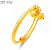 Wholesale 24k Gold Baby Jewelry - Never fading (44--50 mm) 5mm Bell Baby Bangle Bracelet Jewelry 24k Gold filled Expandable Bangle made by Environmental Copper