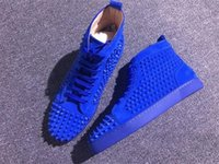 Wholesale Men High Top Dress Shoes - Fashion Red Bottom High Top Women,Men Shoes Spikes Sneakers Shoes,Luxury Designer Rivets Flat Walking Shoes,Dress Party Wedding 35-46