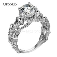 Wholesale Ghost Jewelry - Wholesale- UFOORO Ghost evil Skull skeleton Hand CZ Ring European and American Punk style Motor Biker Men Ring 2017 new skull men's jewelry