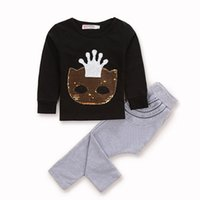 Wholesale Child S Mask - New 2017 Fashion Children Clothing Boys Girls Sets Long Sleev Cartoon Mask Fox Crown Sequins Cotton Kids 2piece Set Suits Black A7460