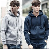 Wholesale Wholesale Sweat Jackets - Men's Hoodie Fleece Fashion Jackets Long Sleeve Casual Coat Winter Sweatshirts Zipper Pullovers Slim Outdoor Sportswear Sweats Tops B2474