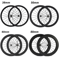 700C 38mm 50mm 60mm 88mm Carbon Clincher Tubular Road Bicicleta Rodas de bicicleta Super Light Carbon Wheels Racing Wheelset Novatec 271/372 Hubs