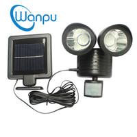 Wholesale white panel lamp leds resale online - Solar Powered Lights LEDs Motion Sensor Spotlight Solar Panel Sconce Lamp Outdoor Double Dural Heads Garden Lighting Device