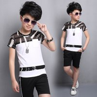 Wholesale Summer Outfit For Kids Boys - Children Clothing Sets 2017 Summer Fashion Casual Print T-Shirts+ Shorts 2Pcs Kids Suits for Boys Outfits 4 6 8 10 12 Years