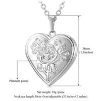 Wholesale Vintage Rose Flower Frame - Photo Frame Memory Locket Pendant Necklace Silver Gold Color Romantic Love Heart Vintage Rose Flower Jewelry Women Gift P326