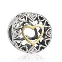 Autênticos 925 Sterling-Silver-Jewelry Círculos Loving Charms Beads Gold Color Love Heart Charm For DIY Brand Bracelets Jewelry Making