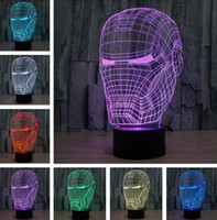 3D Art Iron Man Maschera Night Light Supereroe illusion Mood Lampe foracrilico lampada da camera soggiorno luci Decorazione Night Light