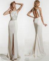 Wholesale Halter Sweetheart Beach Wedding Dress - clean skirt elegant sheath keyhole back wedding dresses 2018 jillian bridal sleeveles halter jewel neckline heavily embellished sweep train