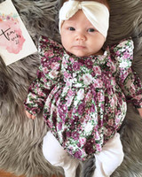 Wholesale Hot Girls Cotton Jumpsuits - Baby Clothes Flower Girls Romper Long Sleeve Cotton Princess Spring Fall Hot Sale Infant Clothing Jumpsuit