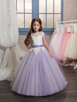 Wholesale Little Girls Pretty Dresses - 2017 Pretty Lace Applique Long Pageant Dresses for Little Girls Glitz with Cape Kids Puffy Prom Dress Flower Girl Dresses Purple