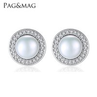 Wholesale Earring Freshwater Pearl - PAG&MAG Classic Round Freshwater High Bright 7-7.5mm Natural Pearl Stud Earrings for Women 925 Sterling Silver Jewelry