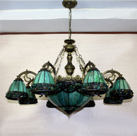 Wholesale Vintage Green Lamps - Yellow Green Tiffany Chandelier European Vintage Glass Suspension Light Dining Room Hanging Lamp Pendientes Lustre