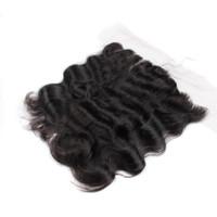 fermeture pleine forme en dentelle achat en gros de-2017 UGlam Products Cheveux Vierges Dentelle Frontale Fermeture Corps vague Cheveux Malaysiens Fermeture 4x13 Frontale Doux Et Complet