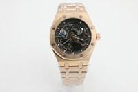 relógio de ouro real venda por atacado-Marca de relógios de alta qualidade dos homens de luxo relógios mecânicos automáticos dos homens mostrador preto relógio de cinta de aço inoxidável de ouro rosa real