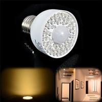 Wholesale Ir Sensor Bulb - New LED Motion Sensor Light Bulb 3W 54LED E27 PIR Infrared IR Motion Sensor White Warm White Light Bulb 340LM Motion Sensor Light Bulb