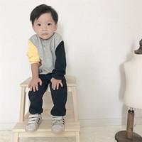 Wholesale Korean Zebra Suit - Fashion 2017 new baby autumn suit baby boys lonf sleeve sewater+pants 2pcs suit Korean style joint fleece suit