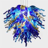Wholesale Coloured Light Pendants - 100% Hand Made Blown Glass Chandelier Coloured Art Glass Modern Ceiling Decorative Hotel Decor LED Light Source Chandelier