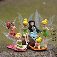 Wholesale fairy garden flowers - 6pcs Set DIY Miniature Flying Flower Fairy Garden Landscaping Flower Ornaments Succulent Home Decoration Cartoon Gifts