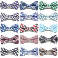 Wholesale Pet Acrylic - Children Fashion Formal Cotton Bow Tie Kid Classical Striped Bowties Colorful Butterfly Wedding Party Bowtie Pet Tuxedo Ties b432