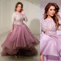 Wholesale High Low Prom Dress Custom - Light Purple Ball Gown Prom Dresses High Low Long Sleeves Apploque Lace With Beading Evening Party Gown Plus Size Custom Made