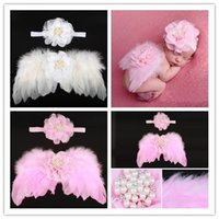 Wholesale Wool Head Flower - sequin bow Photographic props baby angel wings set children 's feathers hand - wings flower head hair band