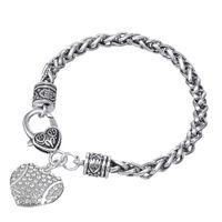 Wholesale Colored Rhinestone Bracelets - Two-colored Crystal Heart Shaped Sports Softball Carter Love Bracelet Stainless Steel Bracelet