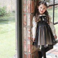 Wholesale Ruffle Pleats Girls - Girls princess dresses Autumn new Kids Bowsnot tie suspender dress children doll collar flare sleeve mesh gauze dress Kids clothes G1051