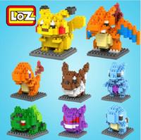 Wholesale Minifigure Blocks - Original box 8pcs LOZ Poke Go Figure Minifigure Building Blocks DIY Pikachu Squirtle Model Toys Miniature Diamond Brick Kids Toys