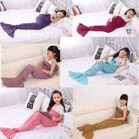 Wholesale plaid living room - Hot Sell Kids Crochet Mermaid Tail Blankets Sleeping Bags Costume Cocoon Mattress Knit Sofa Blankets 70*140CM Handmade Living Room