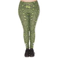 Wholesale Green Striped Leggings - Lady Leggings Lucky Leaf Stripes 3D Print Girl Comfortable Green Pants Women Spring Summer Autumn Trousers Plus Size Fits L XL XXL (J45757)