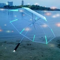 Wholesale Long Handle Flashlight Led - 7 Colors Changing LED Luminous Transparent Umbrella with Flashlight Night Protection Long Handle Umbrellas