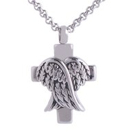 Wholesale Cremation Jewelry Cross - Cremation Screw Memorial pendant Cross And Angel Wings Urn Necklace Locket Keepsake Jewelry