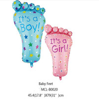 decoracion fiesta chico al por mayor-31 pulgadas Big Feet Color Foil Balloon Party Decoration Baby Boys Girls regalo de cumpleaños de dibujos animados Balloon Toys