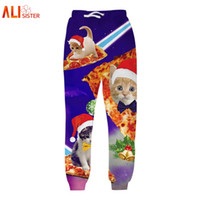 Wholesale Galaxy Trousers - Alisister Men Christmas Pants Unisex 3D Printed Galaxy Cats Trousers Funny Sweatpants Casual Sweat Pants Joggers Plus Size 17310