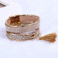 Wholesale Tassel Charms For Bracelets - Wholesale Multilayer Leather Bracelets For Women rhinestone crystal Wrap Bracelets Tassel magnetic Bracelets& Bangles Bohemian Charm