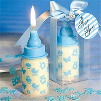 Wholesale Candles Wax Wedding Favors - 60pcs Lot 4*4*8cm Baby Bottle Candle Favors baby shower wedding favors party gifts centerpieces giveaway accessories Free Shipping