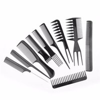 Wholesale Professional Hairdressing Combs - 10pcs set Professional Salon Combs Set Black Plastic Barbers Hair Styling Tools Hairdressing Salon Free Shipping