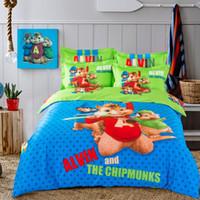 Wholesale Cartoon Bedding Queen - Wholesale-blue green Alvin and the Chipmunks bedding set cartoon bed linen cotton sheet kids boys duvet covers single full queen king size