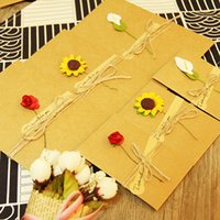 Wholesale Diy Envelope Card - DIY Kraft handmade dried flowers gift cards Christmas greet card thank you notes birthday party invitation cards with envelopes greeting wis