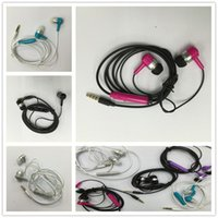 Wholesale Earphone Mic Pack - Colorful 3.5mm Earphone In-Ear Headphones with Mic Stereo plastic Headset for all IOS phone mobile android smart phone earbuds with packing