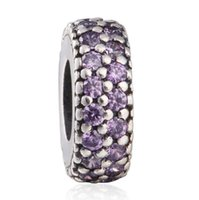 Wholesale Stopper Charms Spacer - TopeasyJewelry Purple Insiration Within Spacer Charms Bead 925 Sterling Silver CZ Stopper Beads For Jewelry Making Diy Brand Bracelets