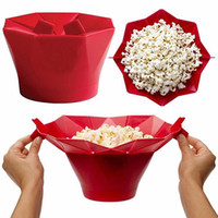 Wholesale microwave bowls - Silicone popcorn bucket Popcorn maker storage container Foldable microwave pop corn box bucket puffed rice food bowl kitchen accessories