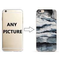 pedras pintadas venda por atacado-Atacado diy personalizar marble stone padrão phone case para iphone 8 8 plus color pintado macio tpu tampa do telefone