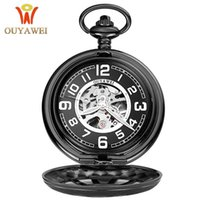 2017 Antique Skeleton Mechanical Pocket Watch gift Homens Chain Necklace Moda Casual Pocket Fob Relógios OUYAWEI Luxury watch