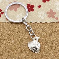 Wholesale Wholesale Metal Dog Bowls - 15pcs Fashion Diameter 30mm Metal Key Ring Key Chain Jewelry Antique Silver Plated dog bone in bowl 21*17mm Pendant