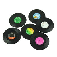 Wholesale Coasters Cup Mats Disc - Wholesale-6 Pcs Lot Vintage Retro Silicone CD Tape Disc Design Drinks Coasters, Home Table Cup Mat Creative Decor Coffee Drink Placemat